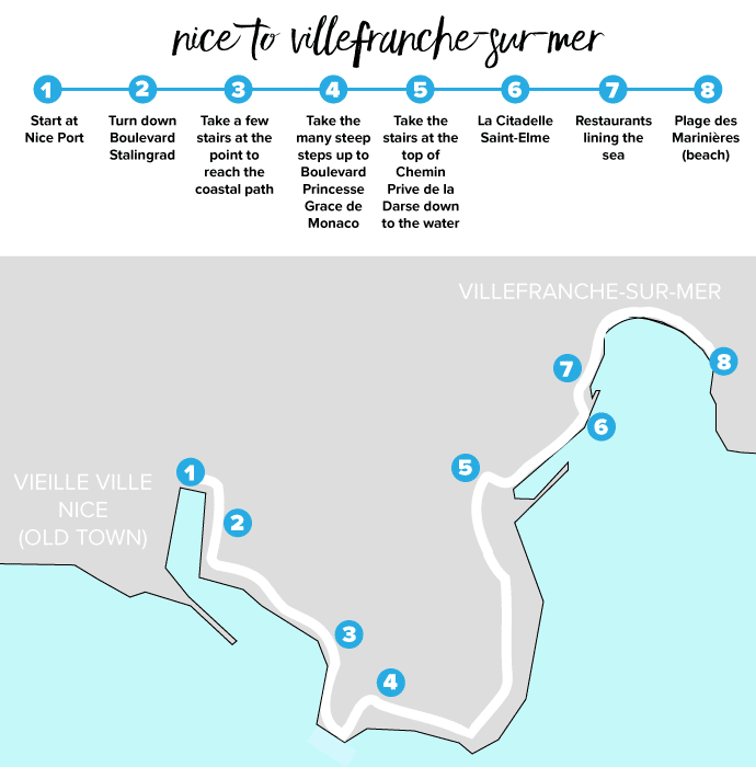Walk from Nice to Villefranche-Sur-Mer Map
