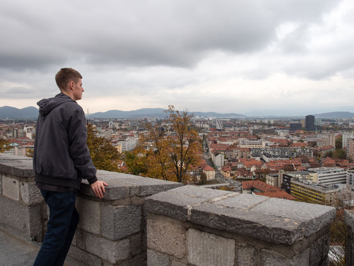 Chris overlooking Ljubljana