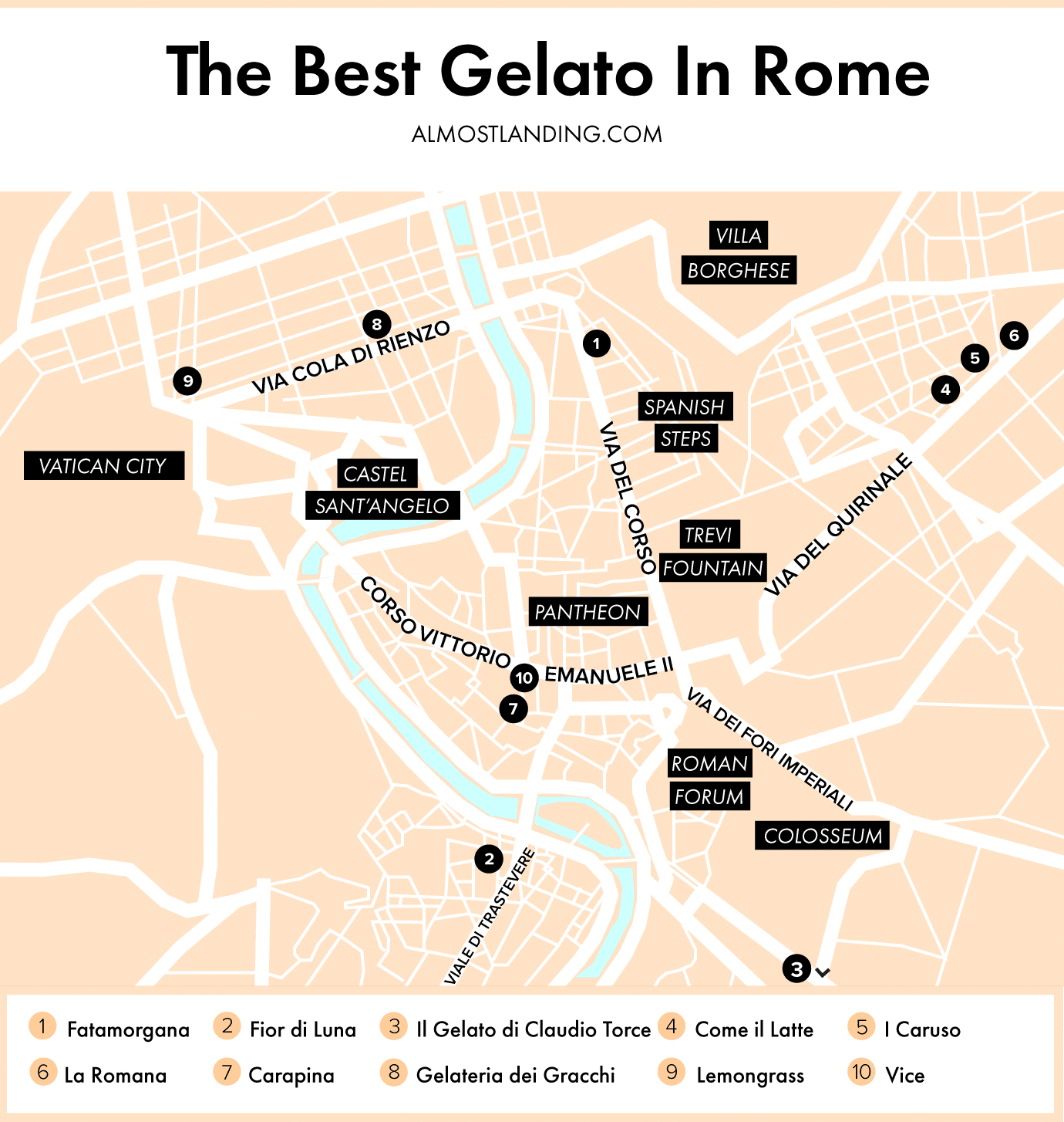 The Best Gelato In Rome Map