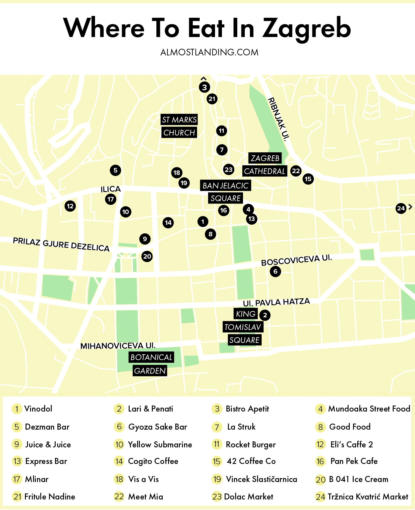 Where To Eat In Zagreb Map