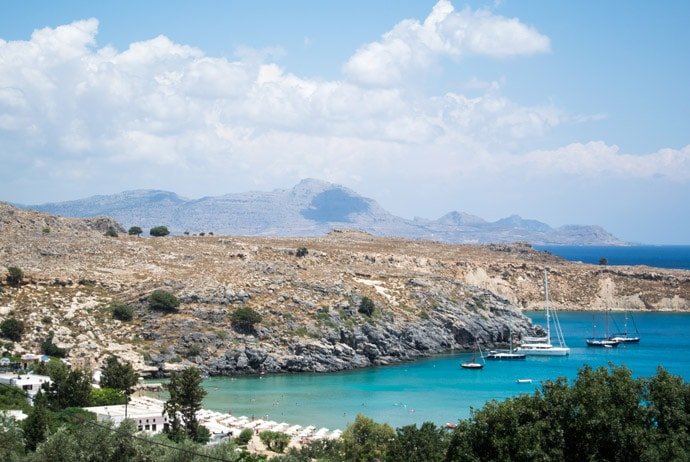 View Of Lindos Beach Rhodes