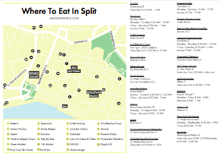 Where To Eat In Split Printable Map Image