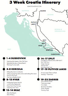 Croatia Itineary Map Image