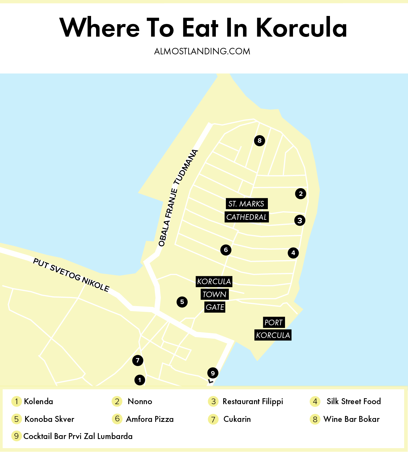 Where To Eat In Korcula Croatia Map