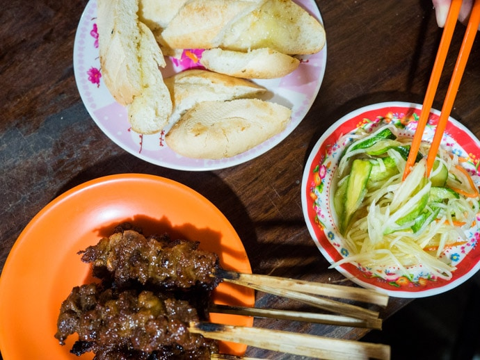 Cambodian Beef Skewers Bread and Pickle Siem Reap