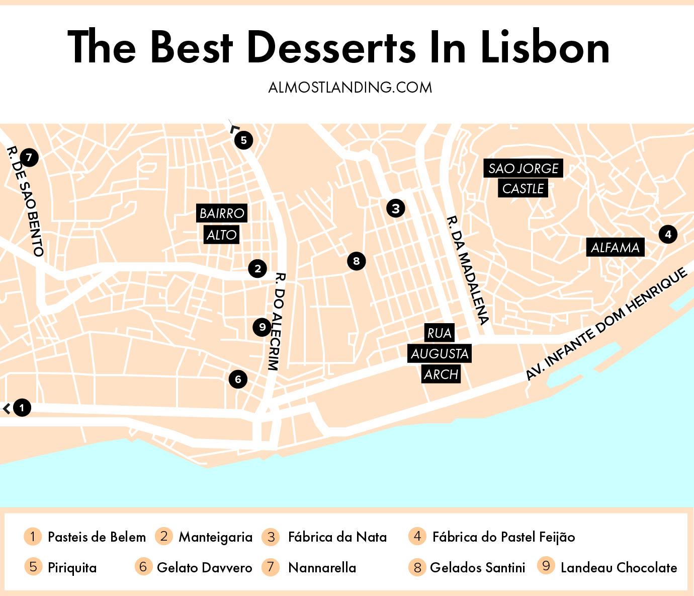 Best Desserts In Lisbon Map