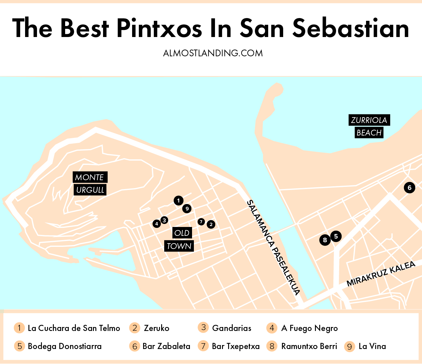 Best Pintxos in San Sebastian Map