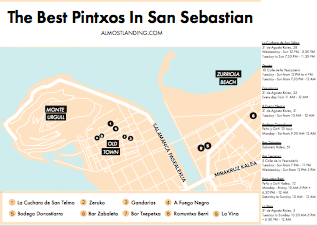 Pintxos in San Sebastian Map