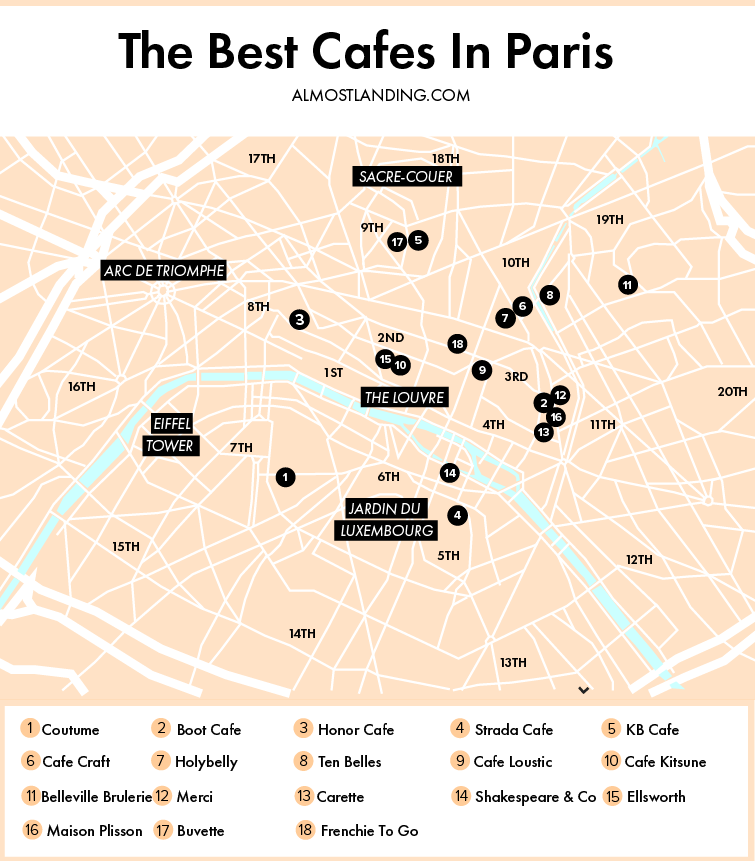 Best Cafes In Paris Map