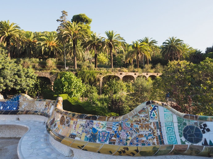 Serpentine Benches Park Guell Barcelona