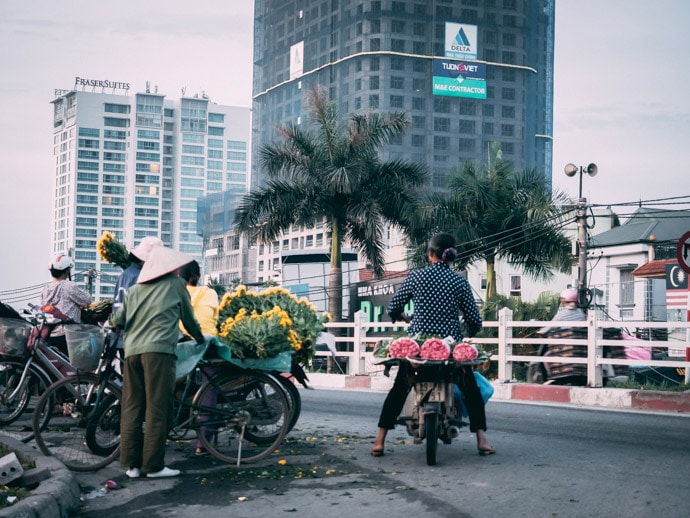 Flower Ladies Leaving The Market Hanoi