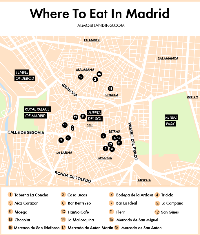 Where to eat in Madrid Map