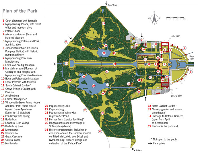 Nymphenburg Park Map Plan
