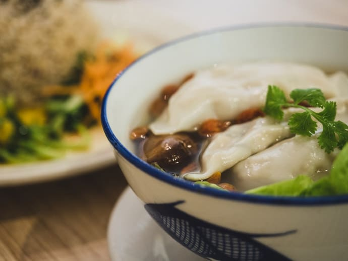 The Healthy Leaf House Dumpling Soup