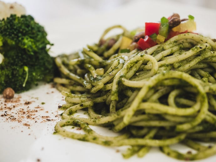 The Healthy Leaf House Pesto Pasta