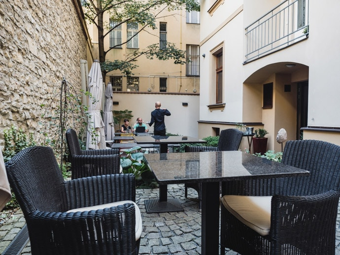 Cafe Lounge Courtyard Seating Prague