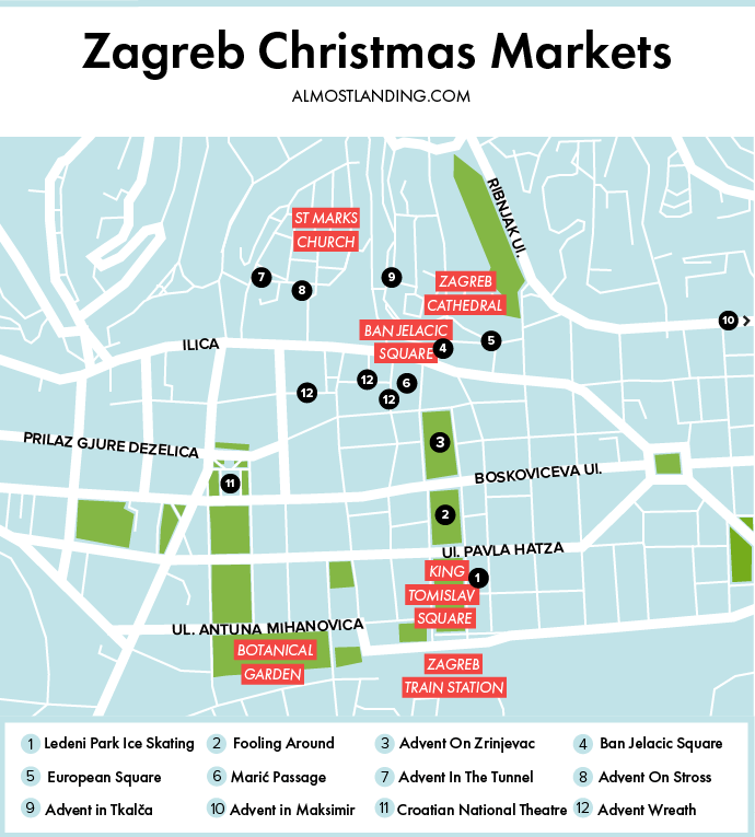 Zagreb Christmas Market Map