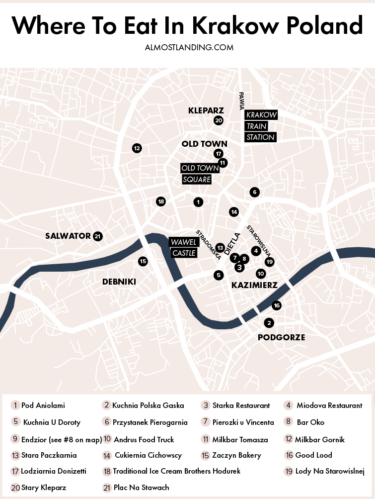 Where To Eat In Krakow Map