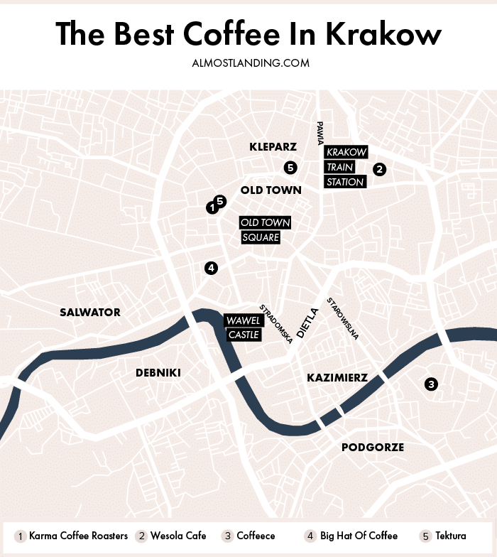 Best Coffee in Krakow Poland: Krakow Cafes Guide on jiangmen city map, venice map, wawel castle map, paris charles de gaulle map, poland map, poznan map, moscow map, bregenz austria map, naples map, kovno map, malopolska map, mielec map, stettin map, transilvania map, carpathian mountains map, singapore hotel map, cracovia polonia map, gdansk map, sarajevo map, milan map,