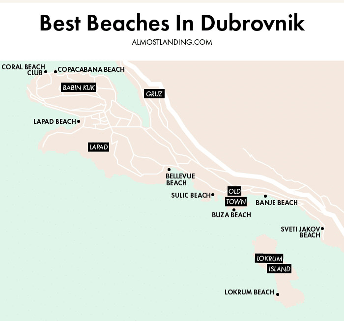 Dubrovnik Beaches Map
