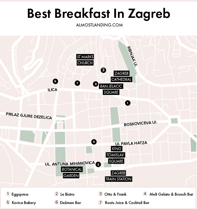 Best Breakfast In Zagreb Map
