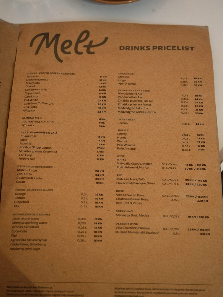 Melt Zagreb Drinks Menu