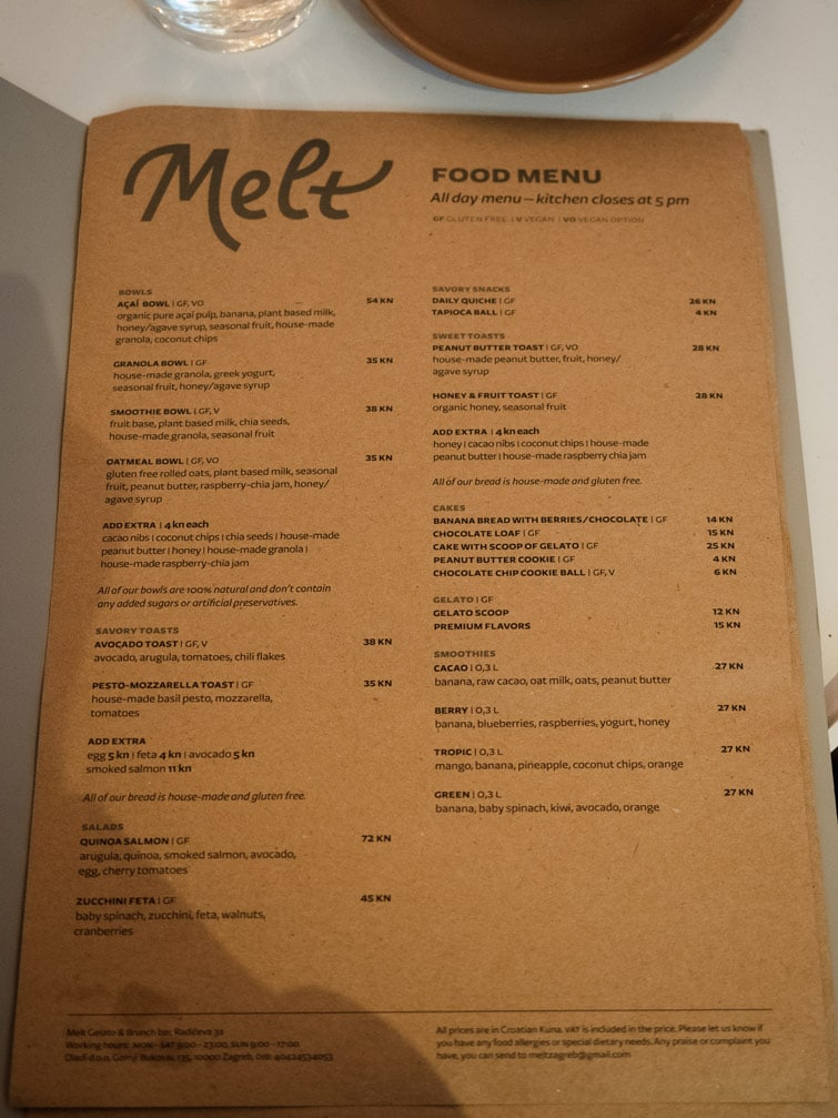 Melt Zagreb Food Breakfast Menu