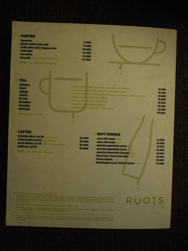 Roots Menu Zagreb Croatia