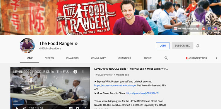 The Food Ranger Youtube Channel